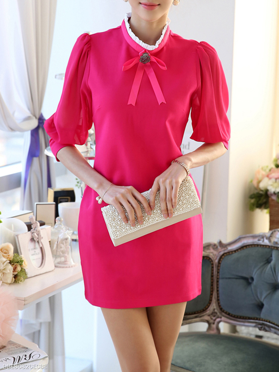 Band Collar Bowknot Plain Mini Bodycon Dress