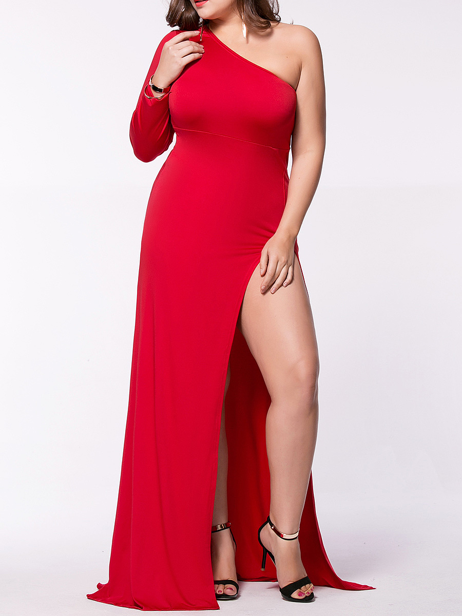 Sexy One Shoulder High Slit Plain Plus Size Maxi Dress