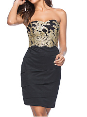 Collarless  Embroidery Bodycon Dress