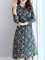 Band Collar Allover Floral Printed Maxi Dress