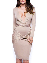Deep V-Neck  Ruched  Plain Bodycon Dress