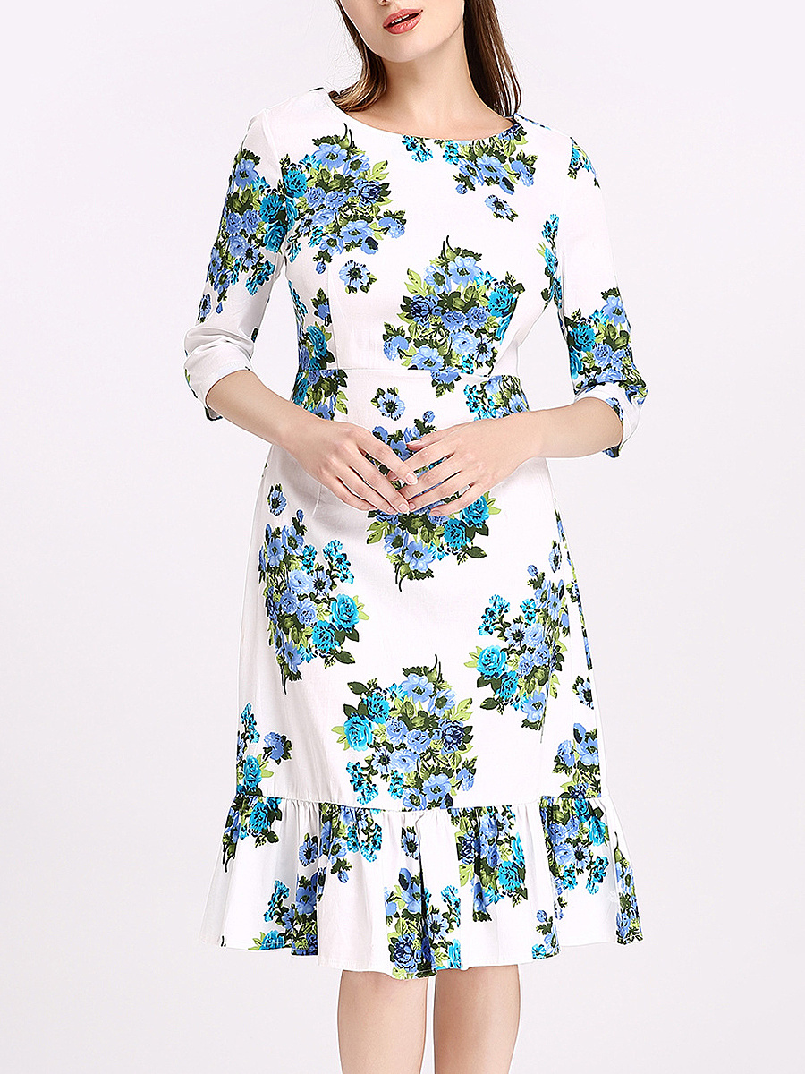 Round Neck Ruffled Hem Floral Printed Bodycon Dress