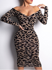 V-Neck  Animal Printed Bodycon Dress