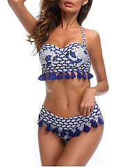 Blue Printed Frange Decrotive Bikini
