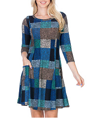 Midi Round Neck  Printed Daily Shift Dress