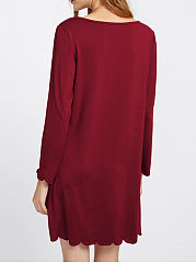 Round Neck Scalloped Hem Plain Shift Dress