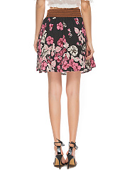 Charming Floral Printed Flared Mini Skirt