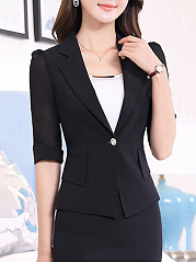 Notch Lapel  Single Button  Plain  Half Sleeve Blazers