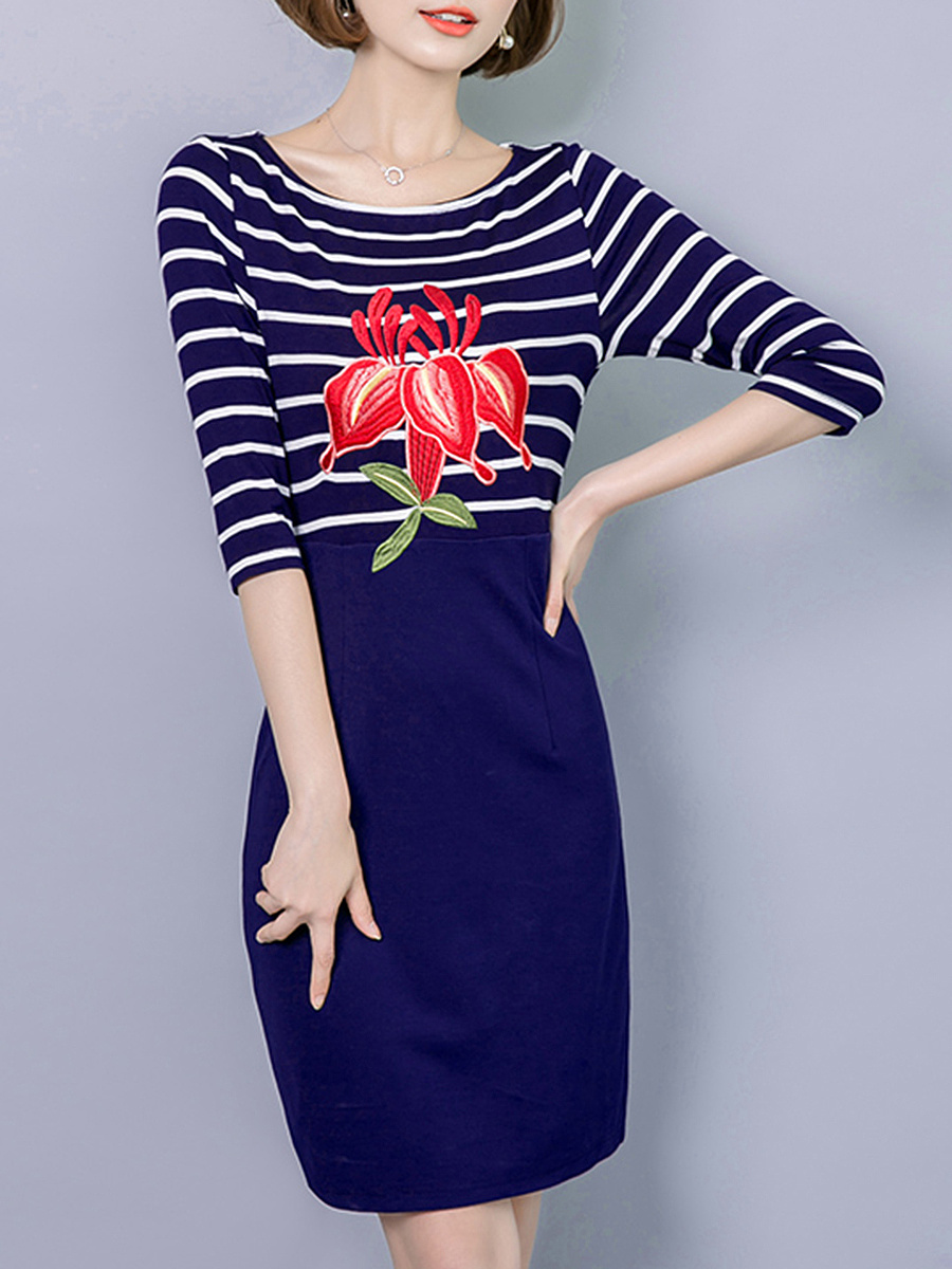 Embroidery Striped Round Neck Bodycon Dress