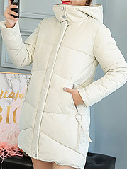 Hooded  Asymmetric Hem  Plain Coat