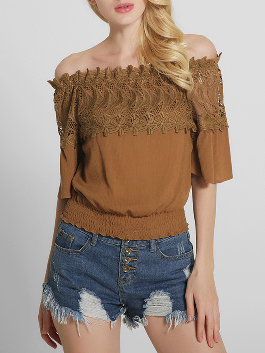 Off Shoulder Decorative Lace Plain Bell Short Sleeve T-Shirt
