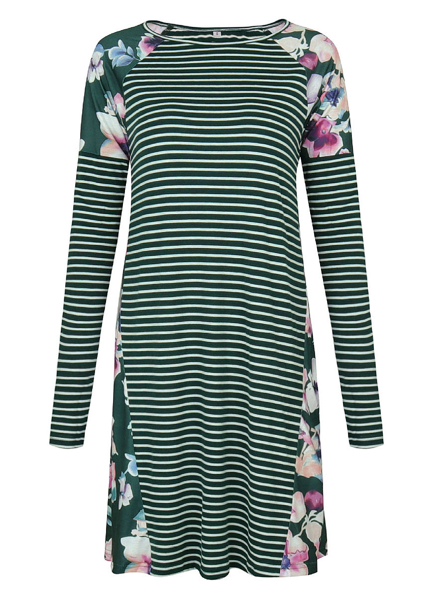 Striped Floral Round Neck Shift Dress