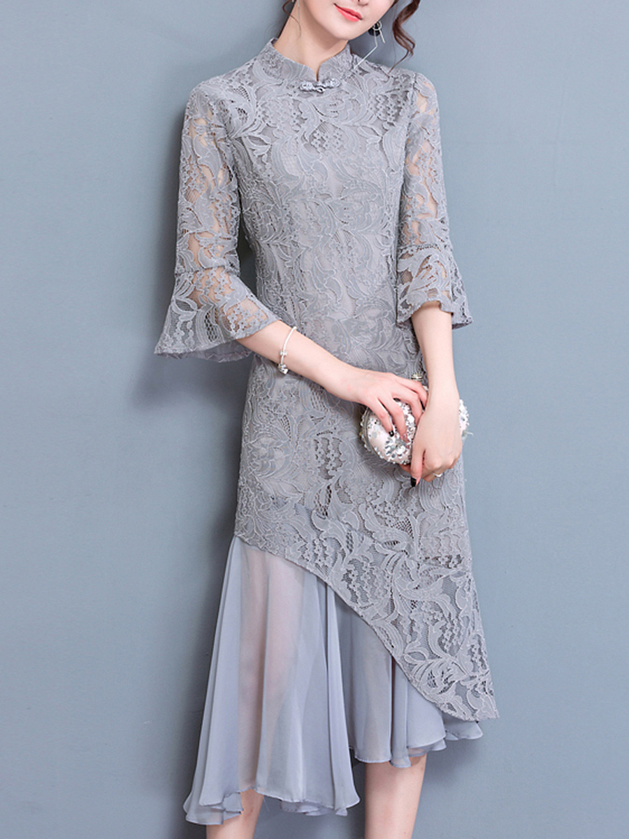 Band Collar Patchwork Hollow Out Plain Lace Maxi Dress