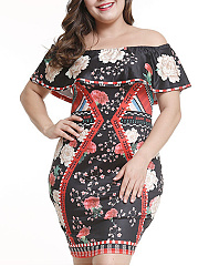 Open Shoulder  Flounce  Abstract Print Plus Size Bodycon Dress