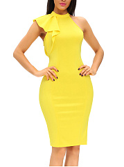 Solid Band Collar Bodycon Dress With One Ruffle Sleeve