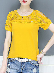 Summer  Cotton  Women  Round Neck  Decorative Lace See-Through  Plain  Short Sleeve Blouses