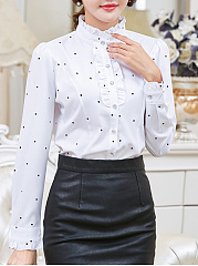 Autumn Spring  Polyester  Women  High Neck  Flounce  Polka Dot  Long Sleeve Blouses