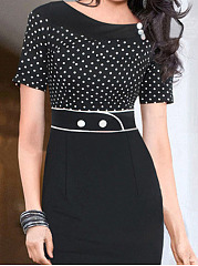 Boat Neck  Polka Dot Bodycon Dress