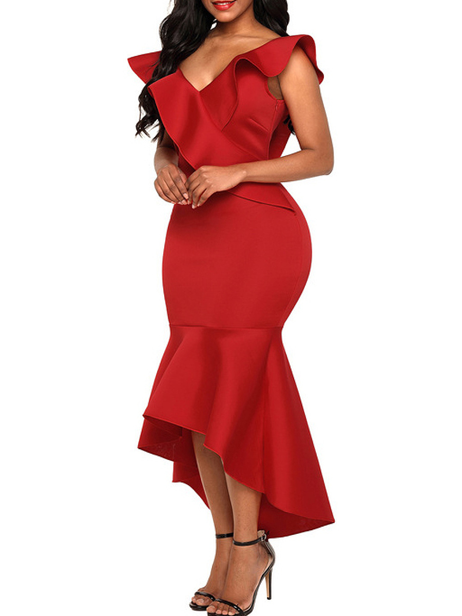 Deep V-Neck  Plain Bodycon Dress