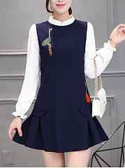 Band Collar Embroidery Color Block Mini Skater Dress