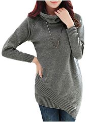 Plain Asymmetrical Hems Awesome Cowl Neck Pullover