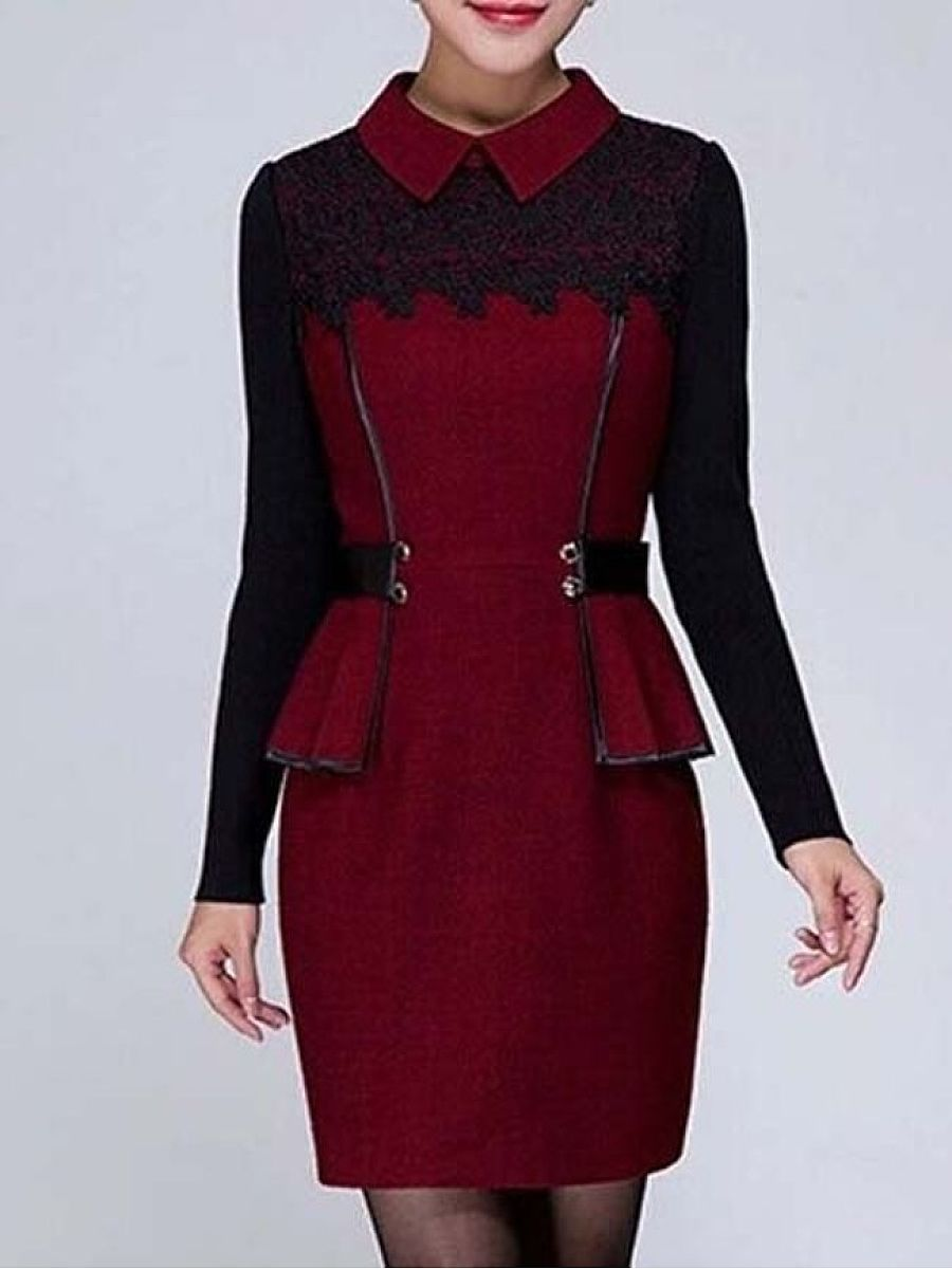 Trendy Small Lapel Lace Patchwork Bodycon-Dress