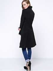 Band Collar Longline Plain Woolen Coat