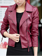 Remarkable Lapel Zipper Elegant Plain Jackets