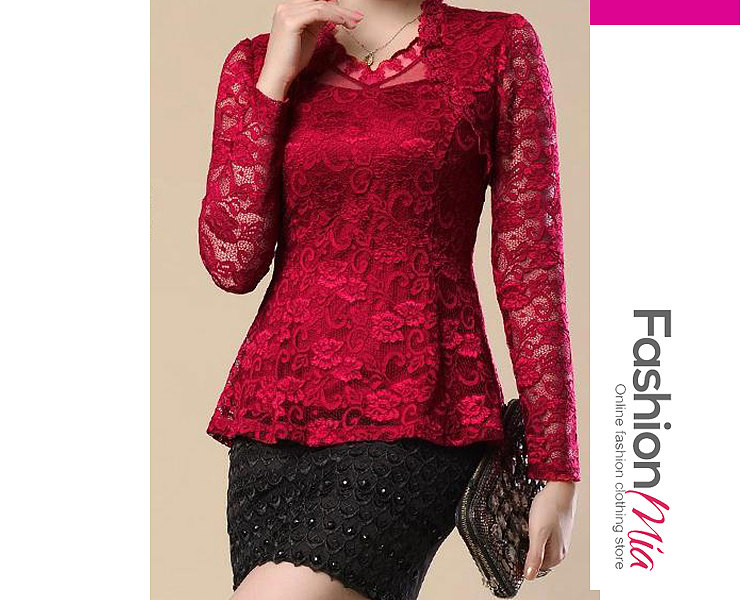 Image of 4 Color Ruffled Lace Plain Cowl Neck Solid Plain Blouse