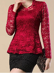 4 Color Ruffled Lace Plain Cowl Neck Solid Plain Blouse