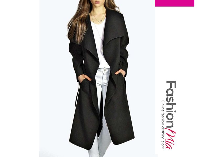 coats,Stylish Plain Glamorous Lapel Trench-Coats - $26.95