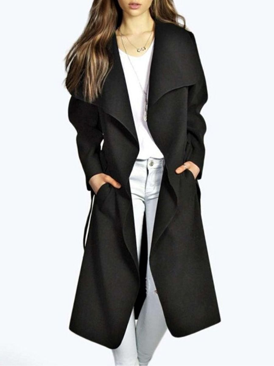 Stylish Plain Glamorous Lapel Trench-Coats