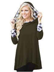 Plaid Color Block Attractive Hooded Hoodies