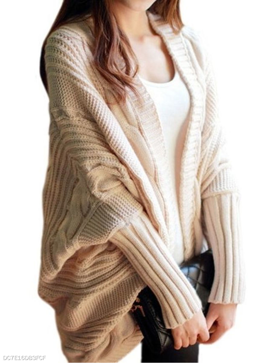 Plain Batwing Lovely Collarless Cardigan