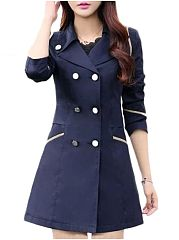 Charming Lapel Breasted Plain Trench-Coats