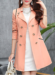 Double Breasted  Contrast Piping  Plain  Long Sleeve Trench Coats
