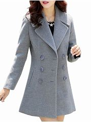 Trendy Lapel Breasted With Pockets Overcoat