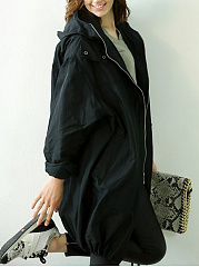Brilliant Lapel Plain Trench-Coats