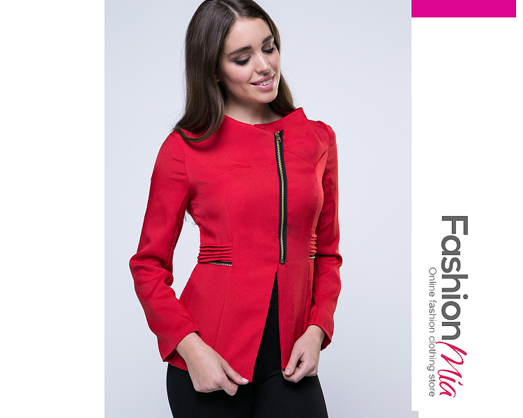 gender:women, hooded:no, thickness:regular, brand_name:fashionmia, style:casual,fashion, material:polyester, sleeve:long sleeve, embellishment:zips, pattern_type:plain, occasion:office,street, season:autumn,spring, lengthshouldersleeve lengthbust