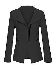 Stylish Lapel Pockets Zips Jacket