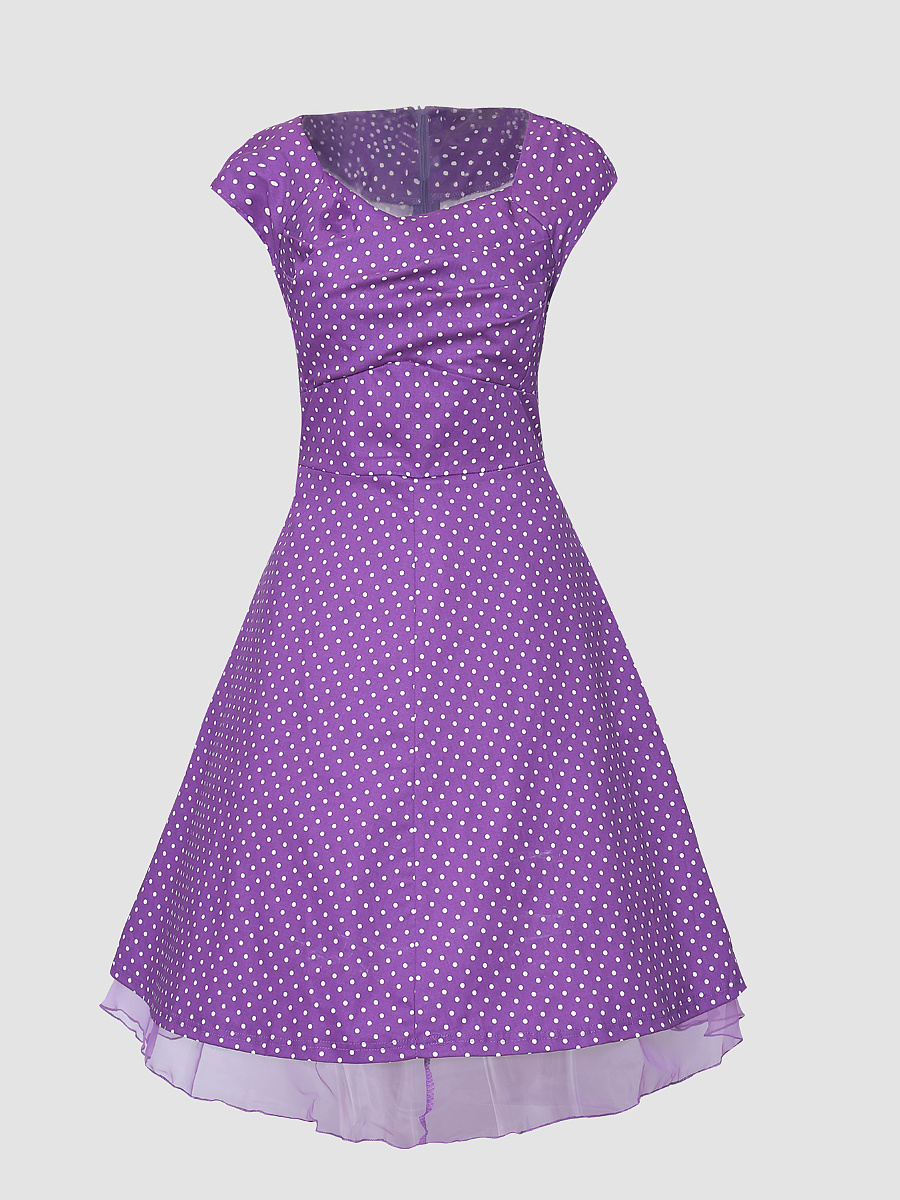 Polka Dot Gauze Hem Square Neck Skater-Dress