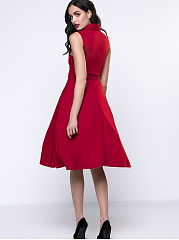 Vintage Shawl Collar Belt Solid Skater Dress