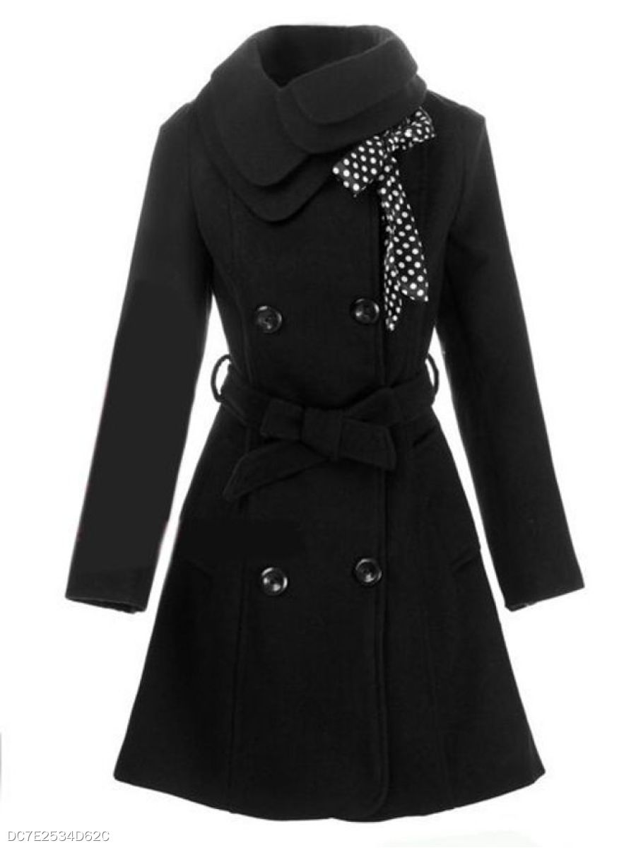 Chic Small Lapel Breasted Pockets Overcoat
