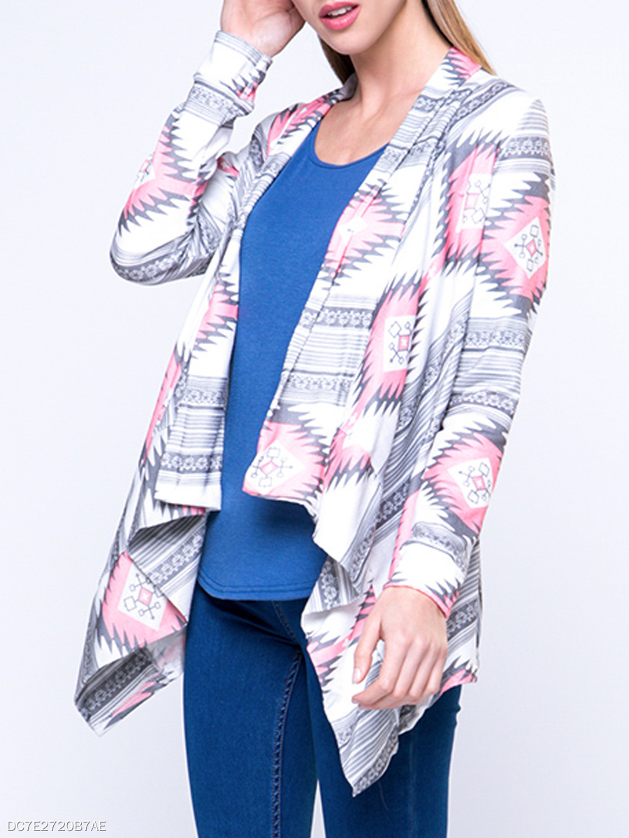 Charming Lapel  Geometric Cardigan