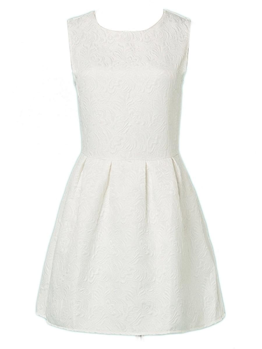 Round Neck  Plain  Polyester Skater Dress