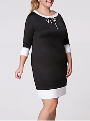 Round Neck  Bowknot  Color Block Plus Size Bodycon Dresses