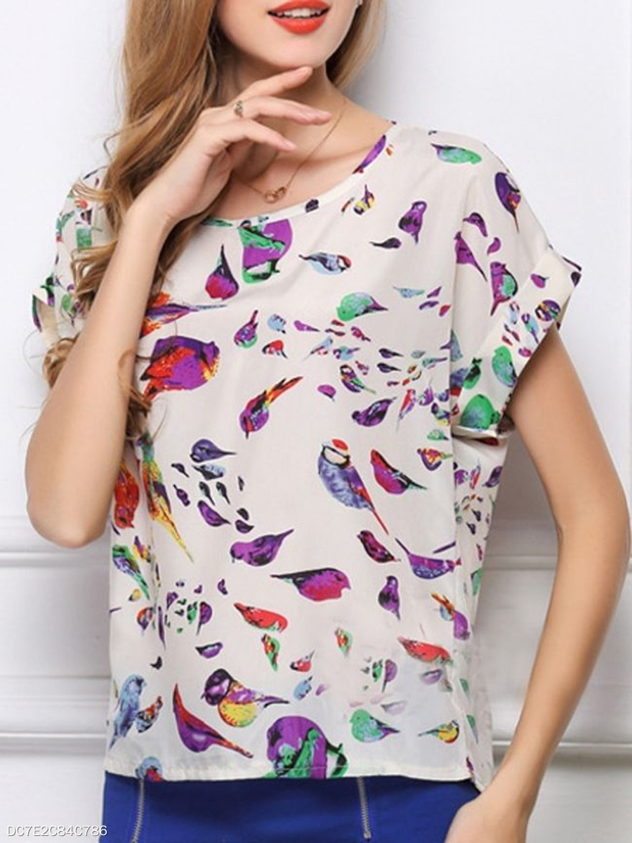 Summer  Polyester  Women  Round Neck  Bird Printed  Batwing Sleeve Short Sleeve T-Shirts
