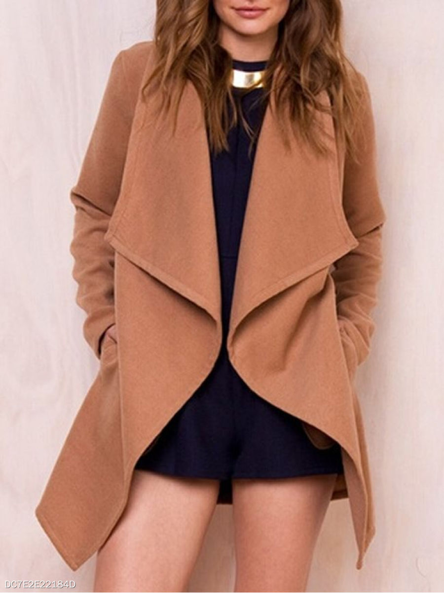 Awesome Lapel Plain Overcoats