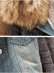 Patchwork Fur Collar Stylish Overcoat