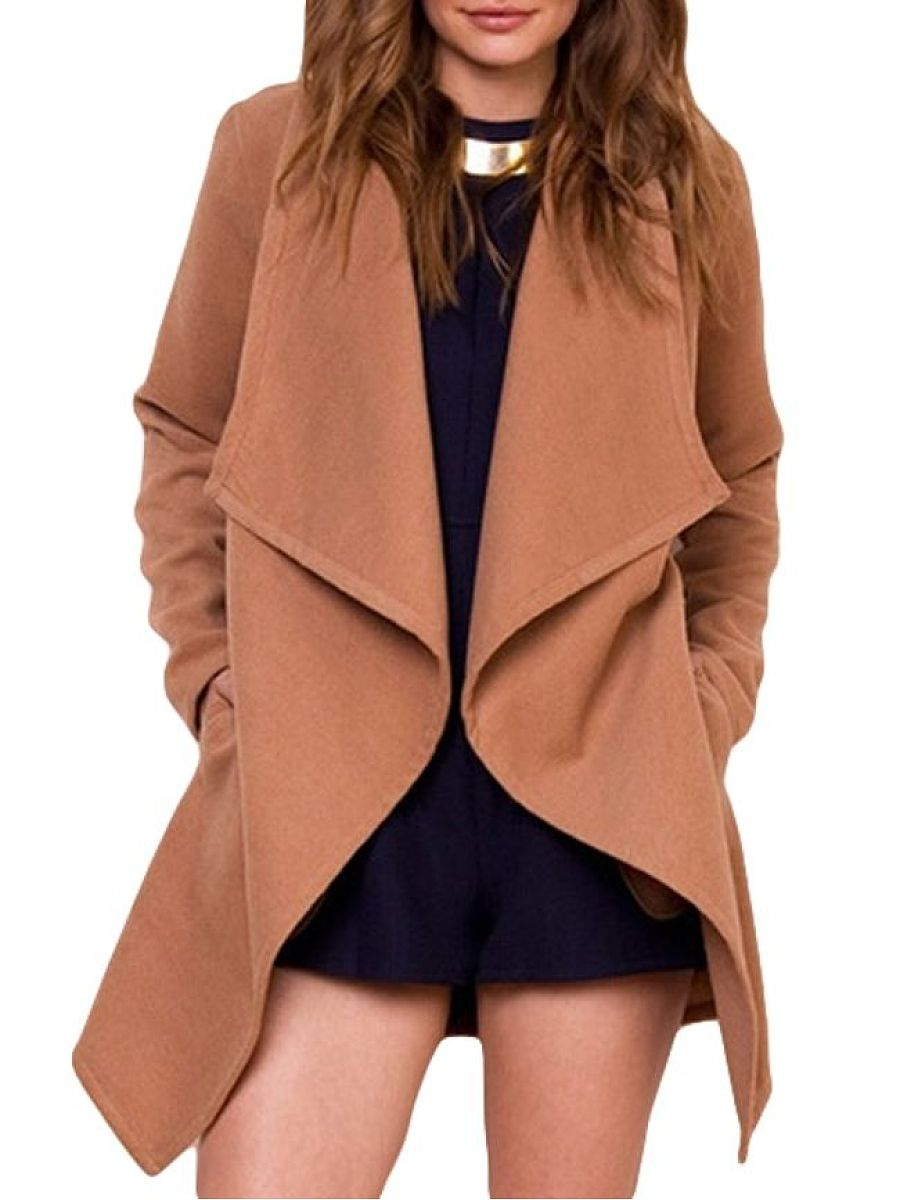 Stylish Plain Delightful Lapel Trench-Coats